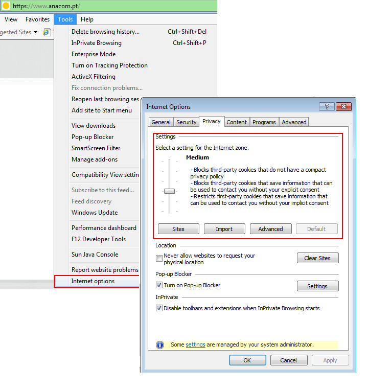 How to enable/disable cookies on your browser Microsoft Internet Explorer