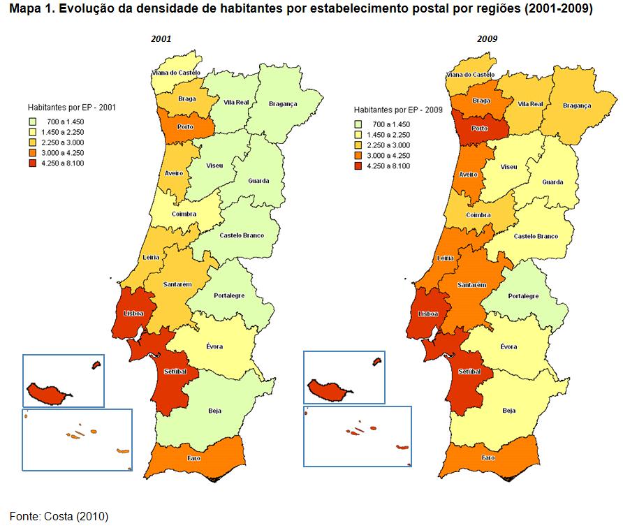 mapa de portugal 2011 ANA  Evolução do número e densidade de estabelecimentos postais mapa de portugal 2011