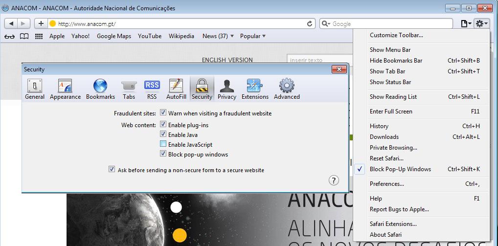 Anacom technical help how to activate javascript apple safari ccuart Gallery